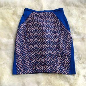 Eva Franco Blue Multi Anthropologie Skirt Size 12